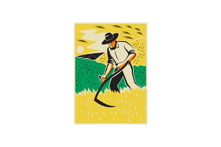 Farmer With Scythe Harvesting Field Retro example image 1