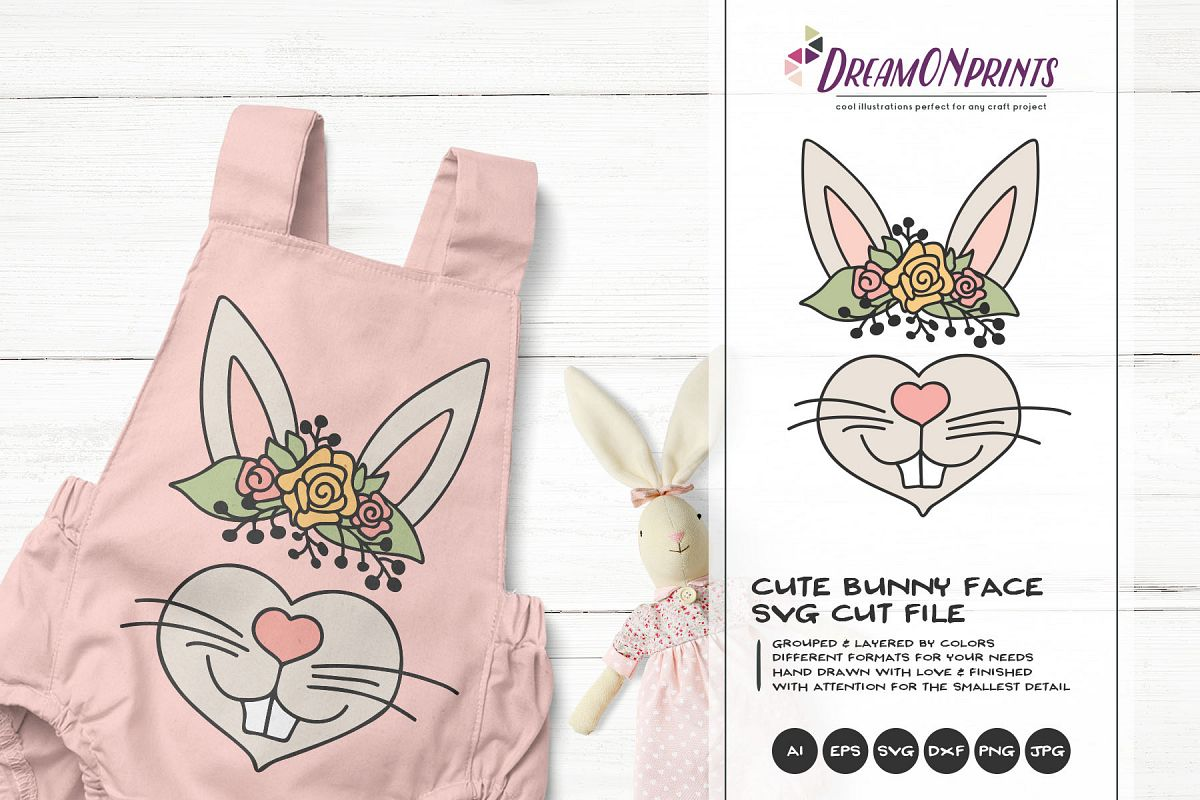 Bunny Face SVG Cut File - Cute Bunny Illustration example image 1