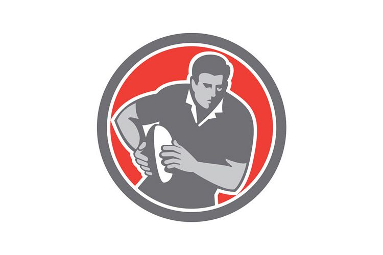 Rugby Player Running Ball Circle Retro example image 1