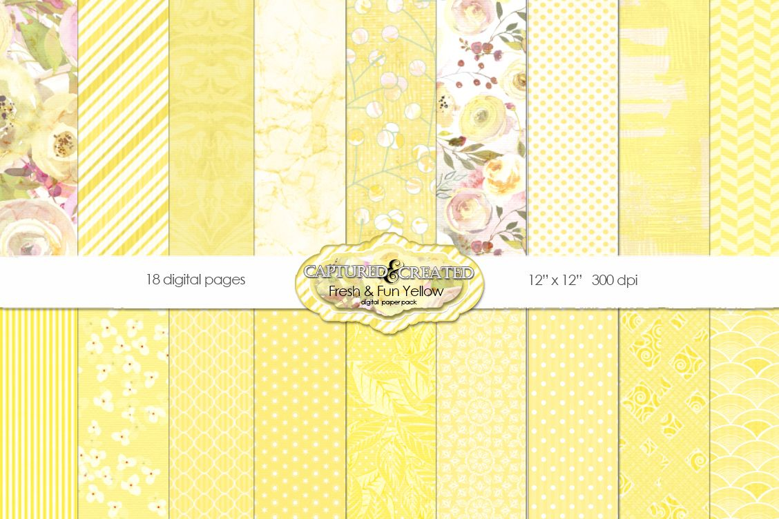 18 Fresh Fun Yellow Scrapbook Paper