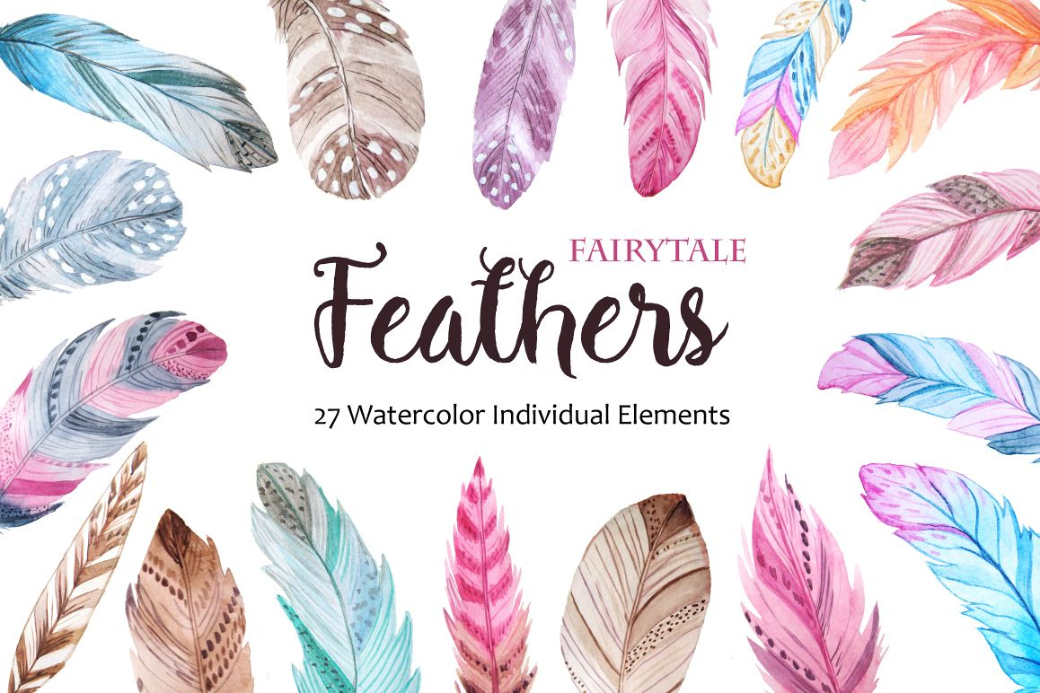 Watercolor Fairytale Feathers Set example image 1