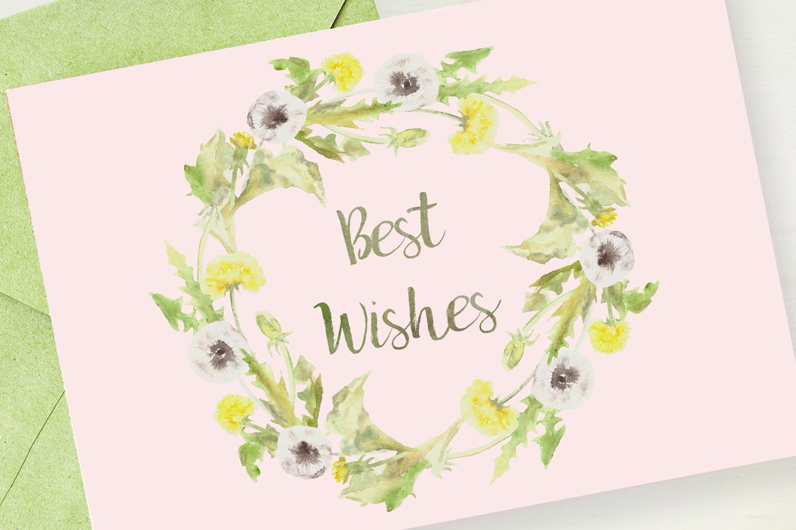 Watercolor Dandelion Clip Art, Wreath and Pattern example image 1