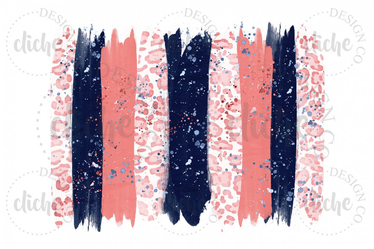 Navy Coral Paint Stroke Sublimation Design Background example image 1