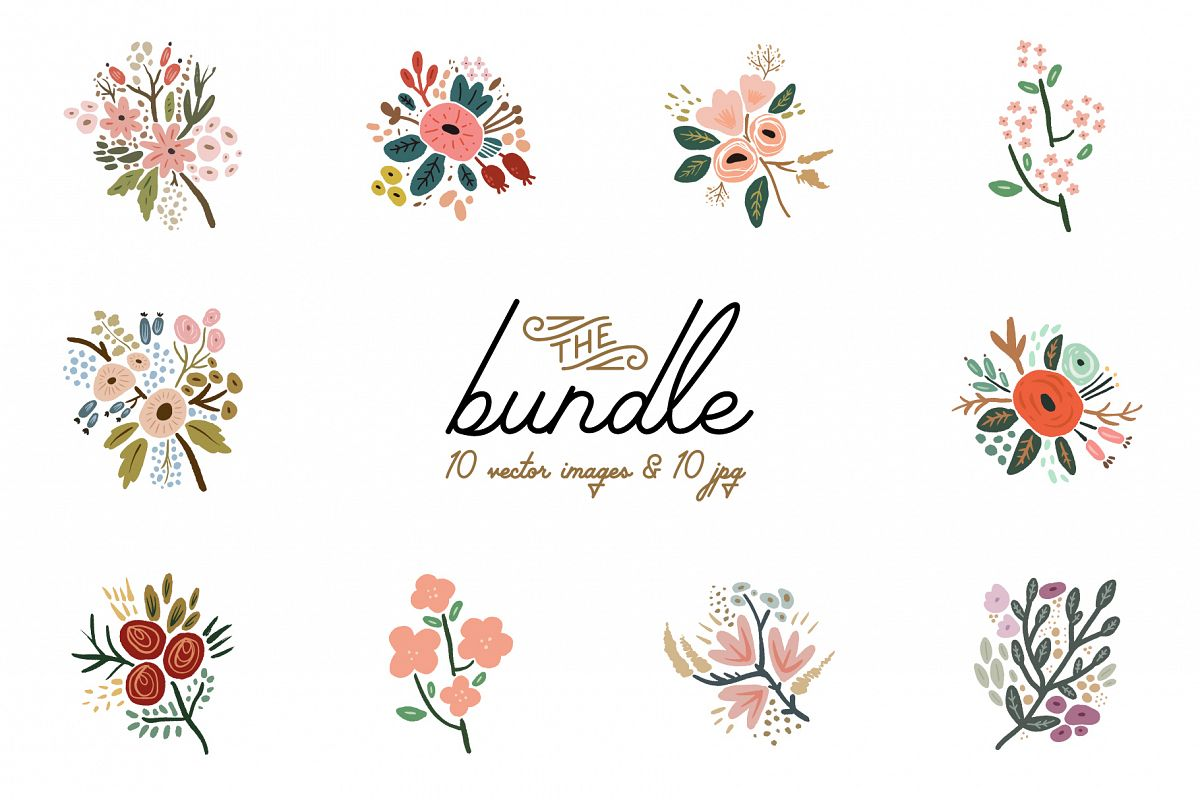 Hand drawn flowers, wedding bouquets, vector clip art example image 1