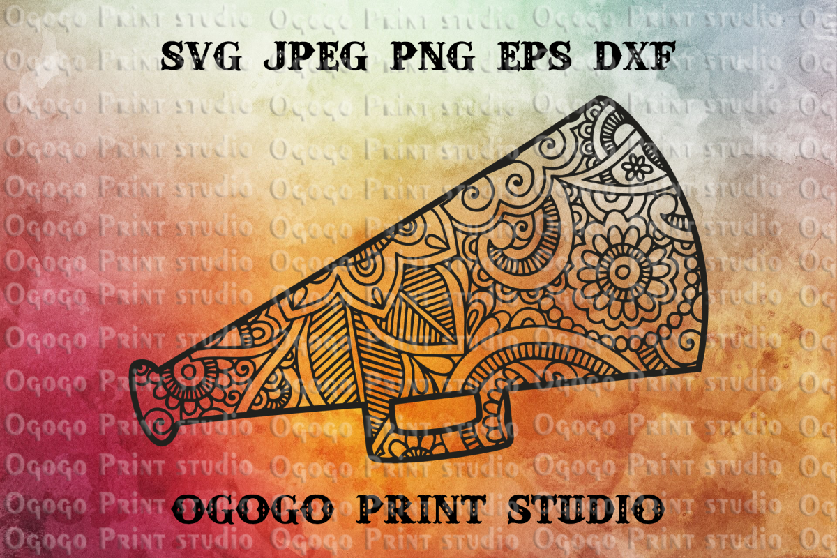Cheer SVG, Megaphone Svg, Cheerleader SVG, Zentangle Svg example image 1