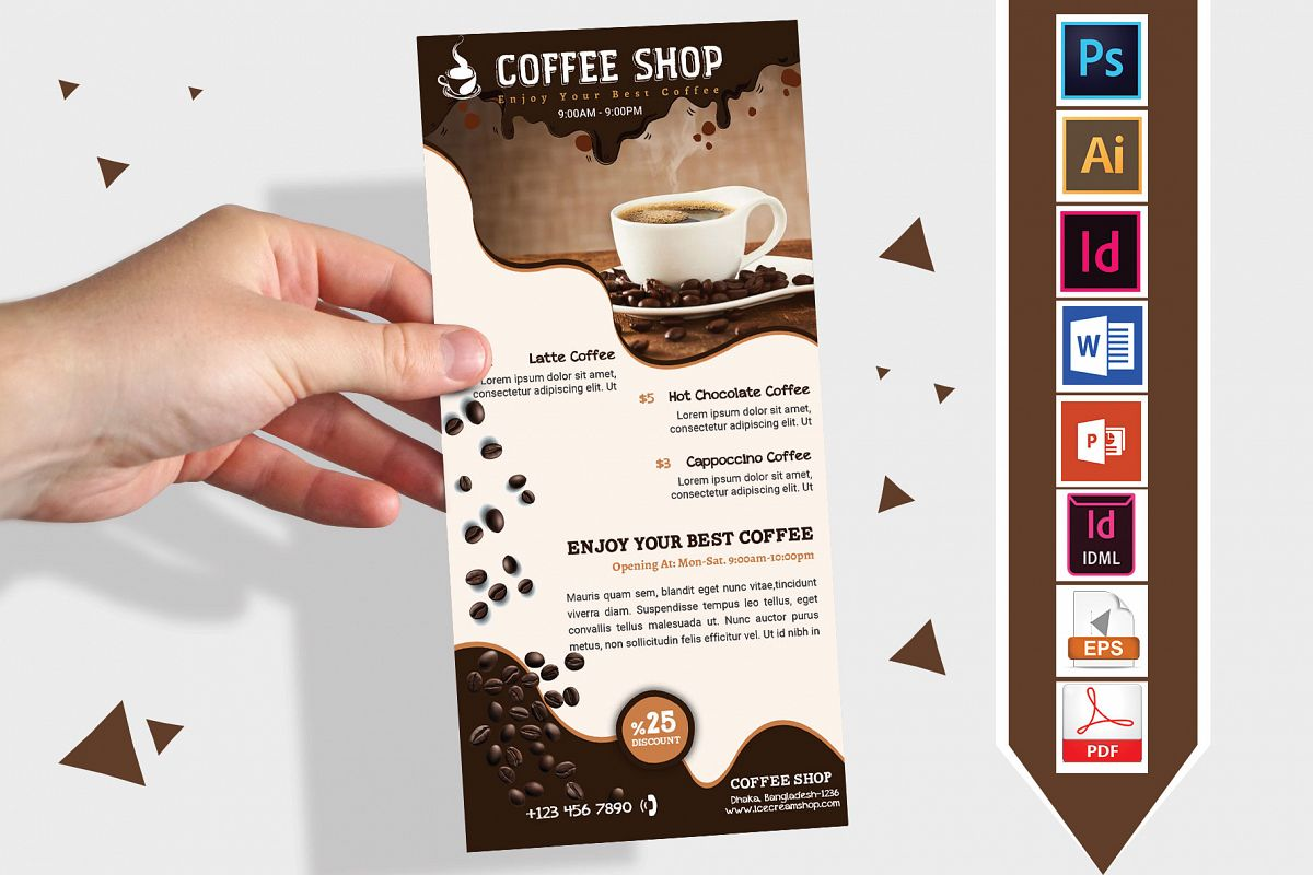 Rack Card   Coffee Shop DL Flyer Vol-02 example image 1