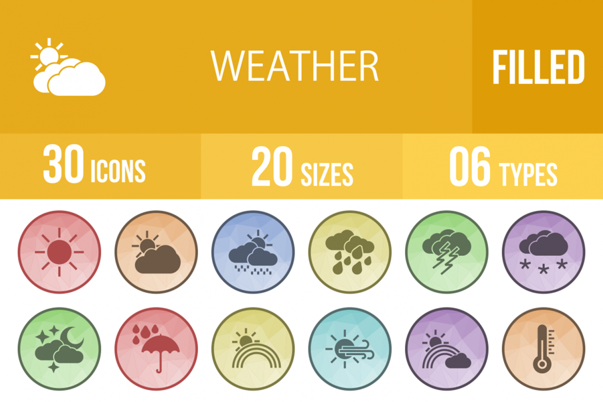 30 Weather Filled Low Poly Icons example image 1
