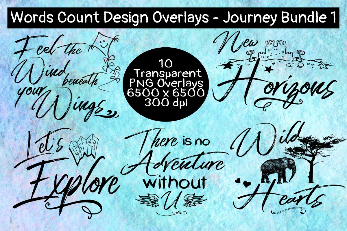Words Count Design - Journey Overlay Bundle #1 example image 1
