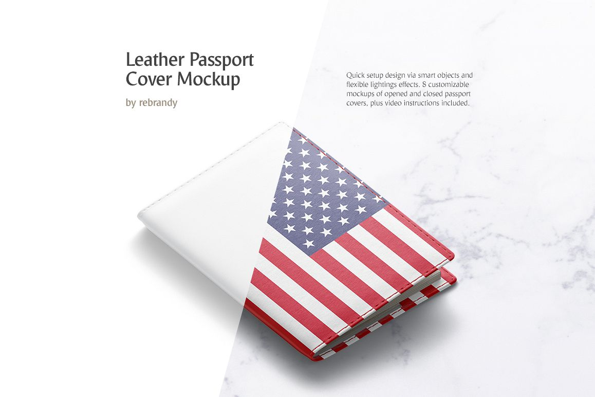 Leather Passport Cover Mockup example image 1