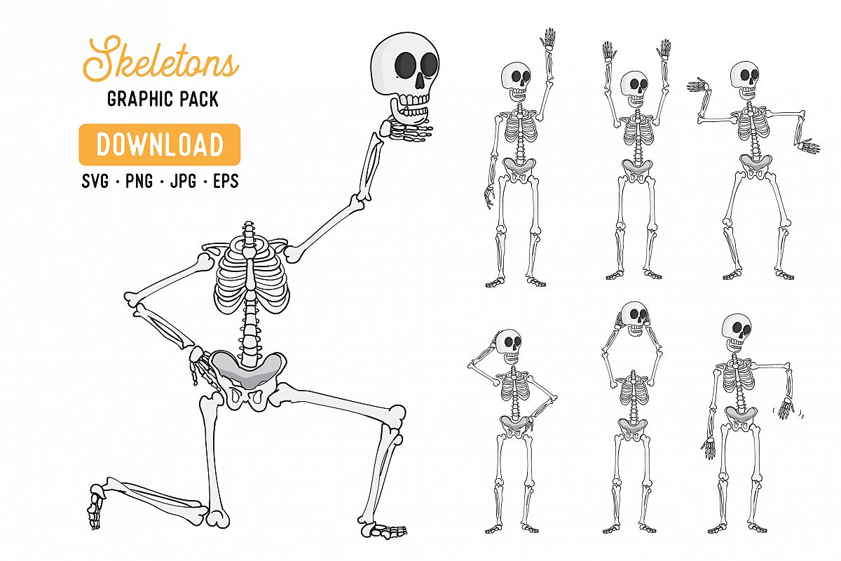 Skeleton Vector Clipart Pack example image 1
