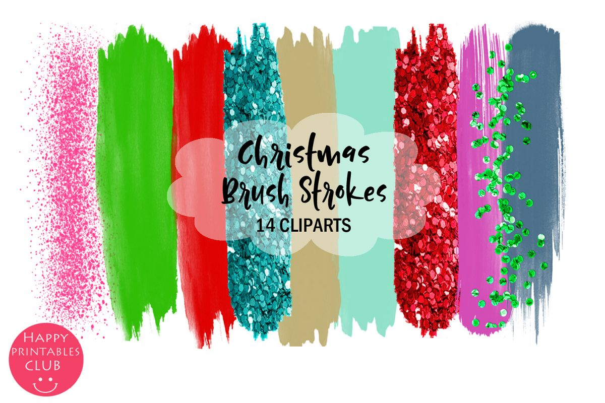 Christmas Brush Strokes Clipart- Brush Strokes Clipart example image 1