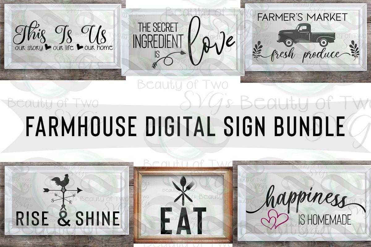 Svg Farmhouse Digital Sign Bundle, 6 Farmhouse svg designs example image 1