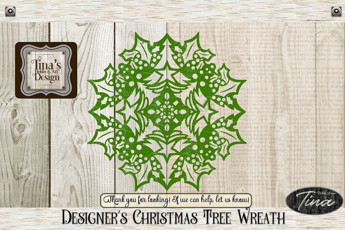 Christmas Trees Holly Doily 8 inch Circular, 101418GreenTre example image 1