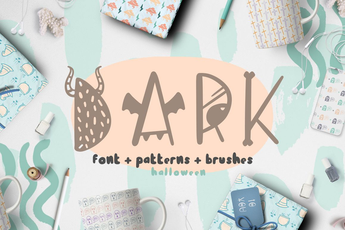 Dark font patterns, brushes and more! example image 1