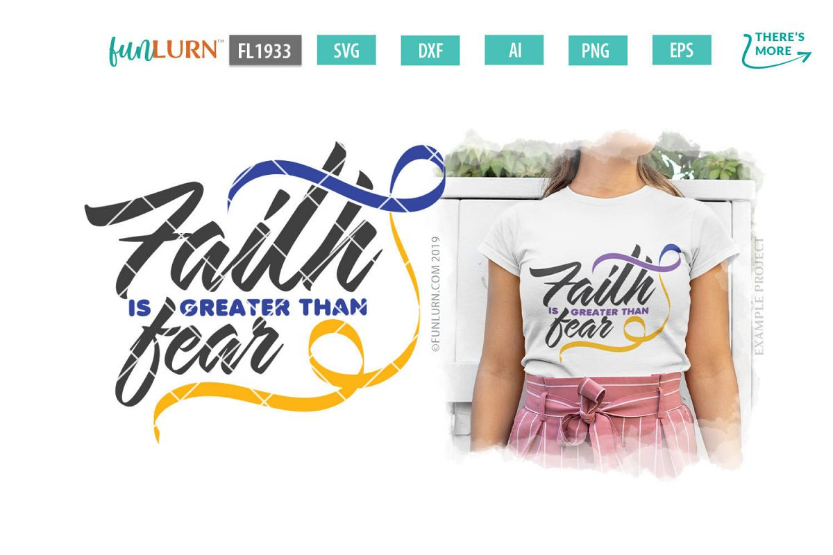 Faith is Greater Than Fear Purple Blue Yellow Ribbon SVG example image 1