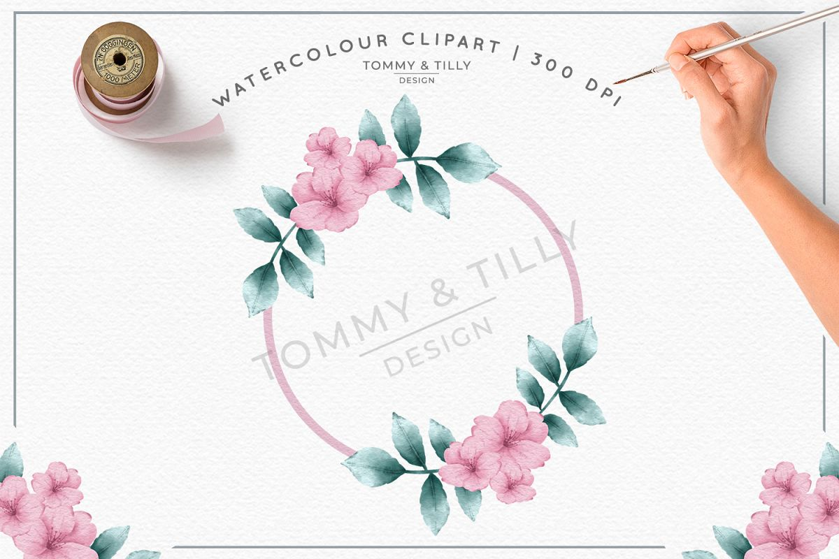 Blank Pink Wreath- Sublimation PNG Clipart example image 1