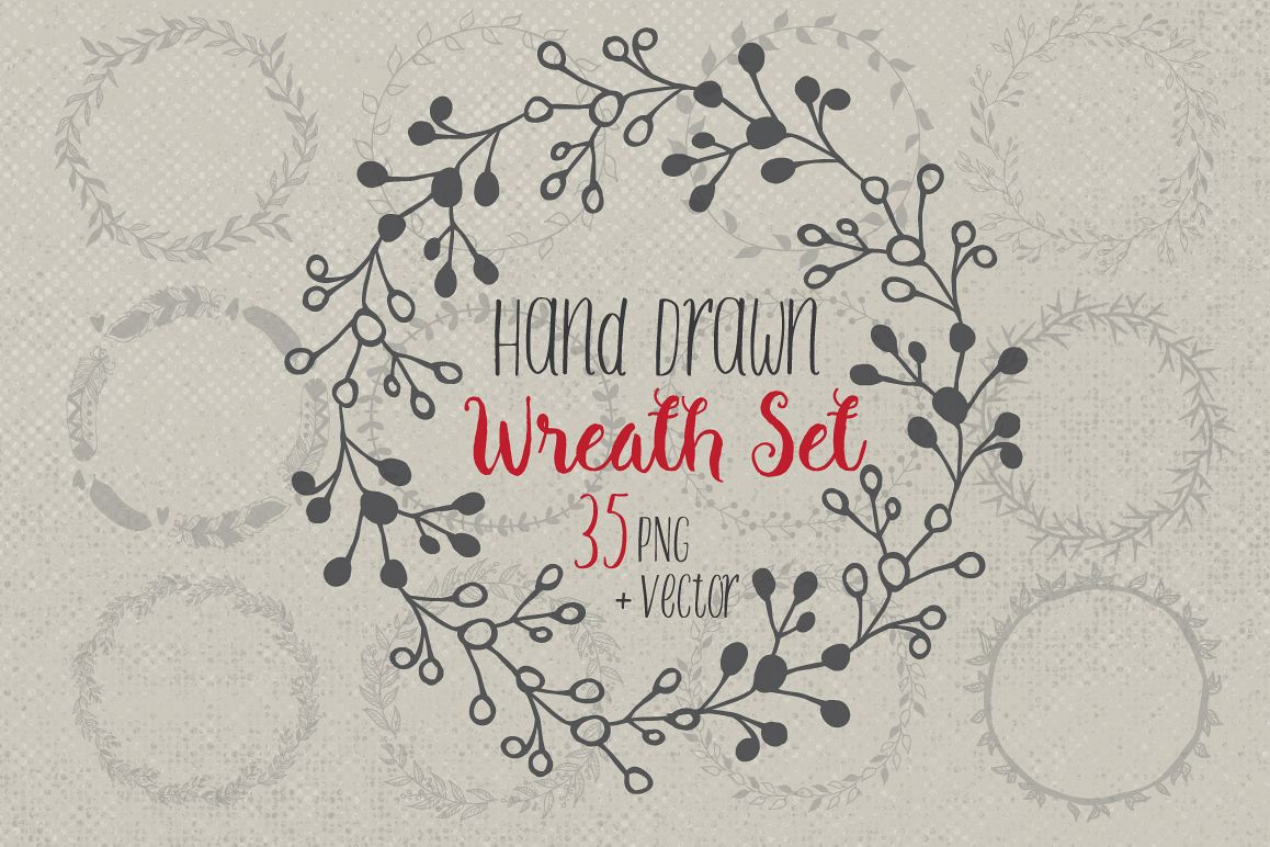 Hand drawn wreaths and frames example image 1