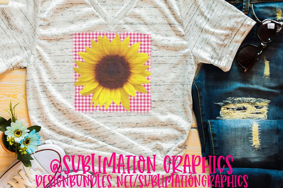Pink Gingham Sunflower Sublimation PNG example image 1