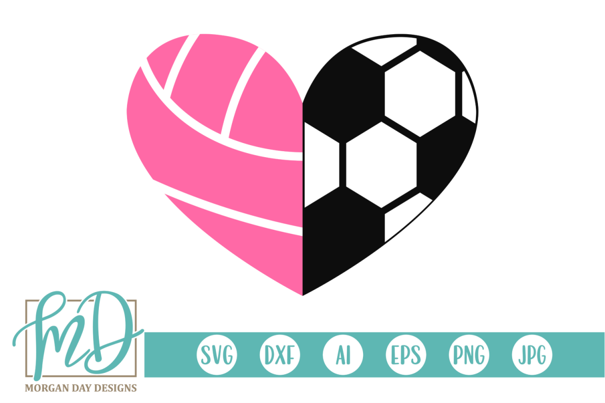 Volleyball Soccer Heart SVG, DXF, AI, EPS, PNG, JPEG example image 1