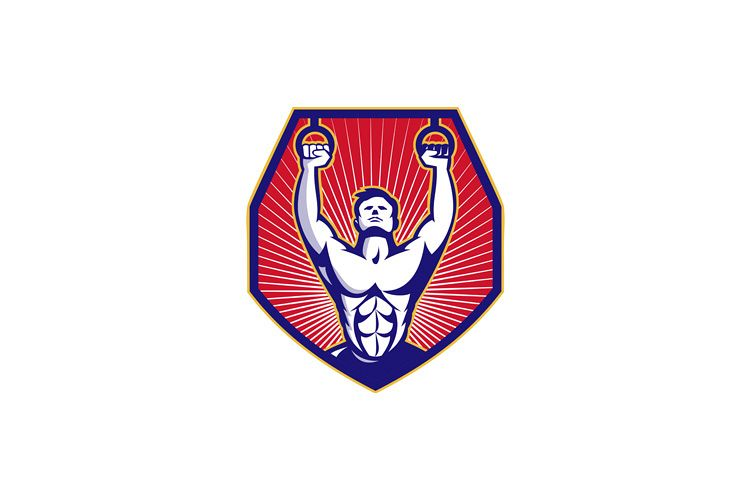 Crossfit Training Athlete Rings Retro example image 1