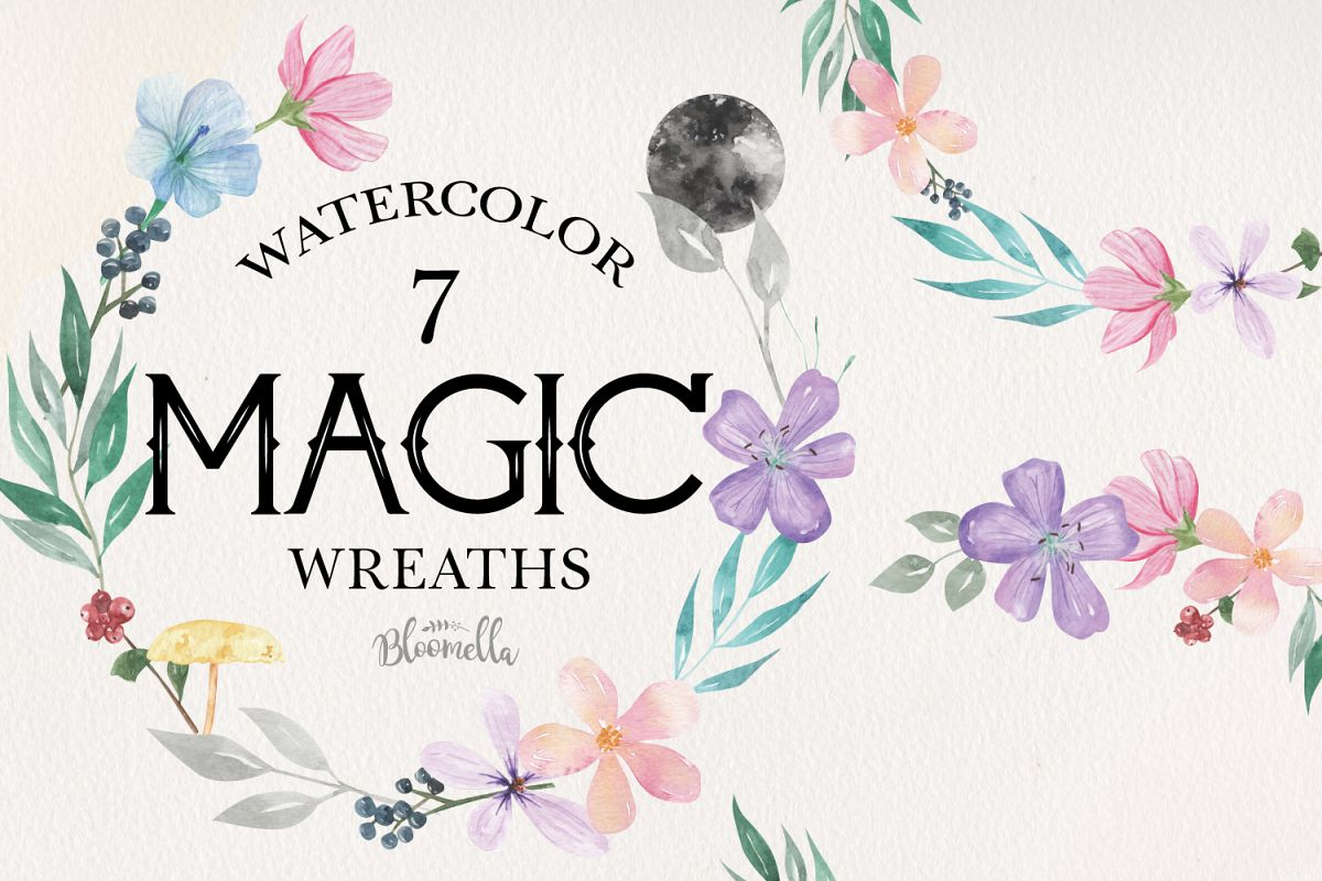 Magic Flowers Leaf Floral 7 Wreath Watercolor Flower Moon example image 1