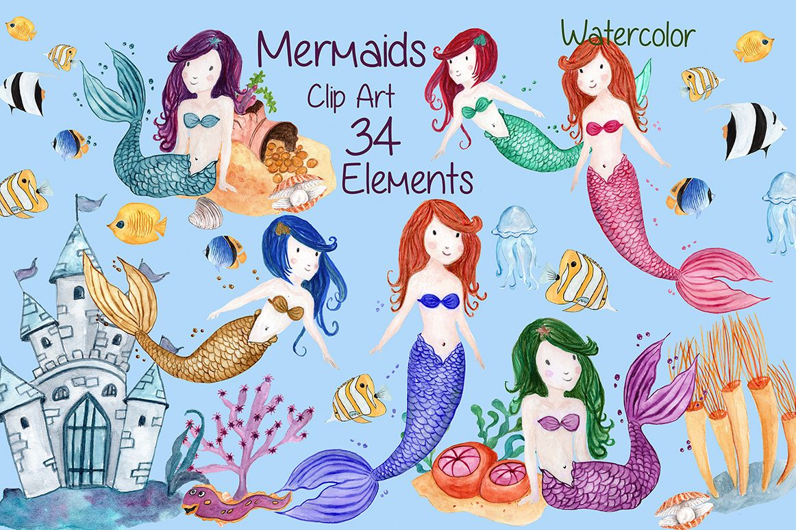 Watercolor Mermaids clip art example image 1