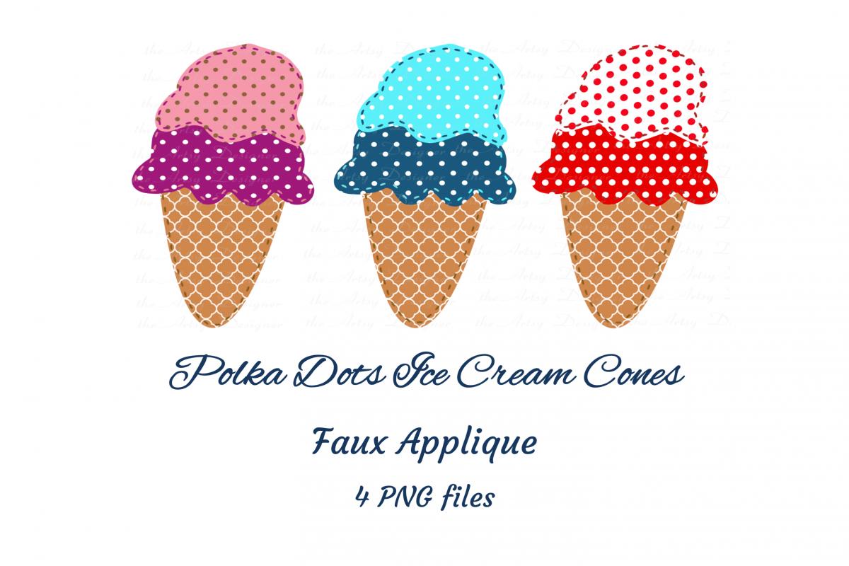 Faux Applique Trio Polka Dots Ice Cream Cones Clipart example image 1