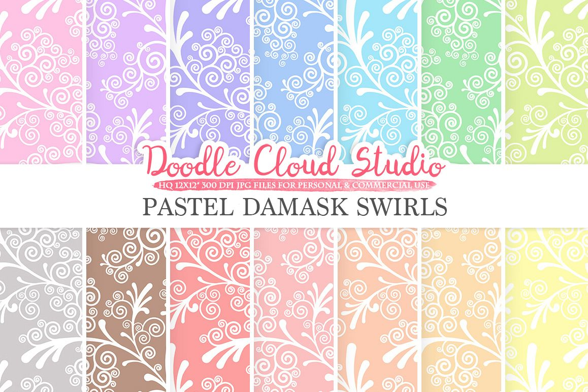 Pastel Damask Swirls digital paper, Swirls pattern, Digital Swirls, pastel colors background, Instant Download for Personal & Commercial Use example image 1