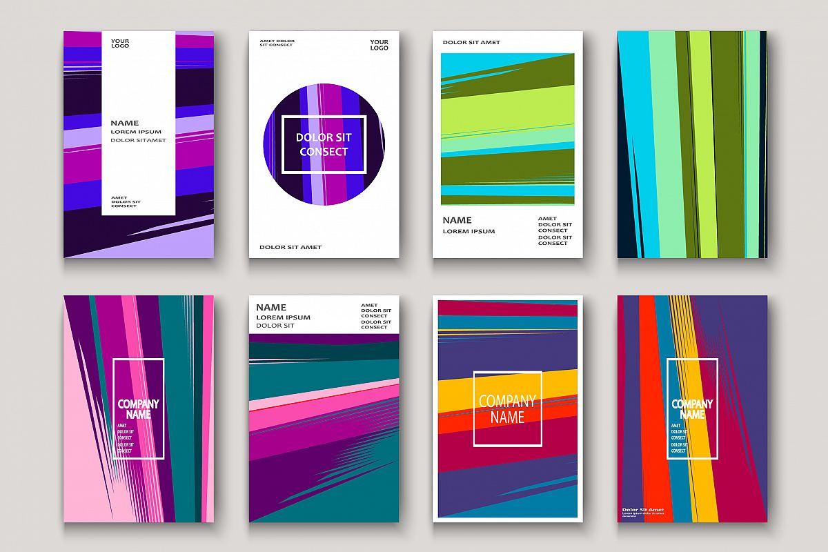 Modern cover design. Abstract retro 90s style texture stripe example image 1