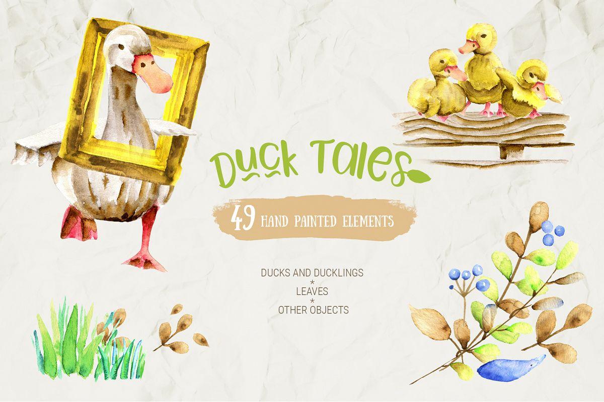 Watercolor Farm Birds and Plants Set example image 1