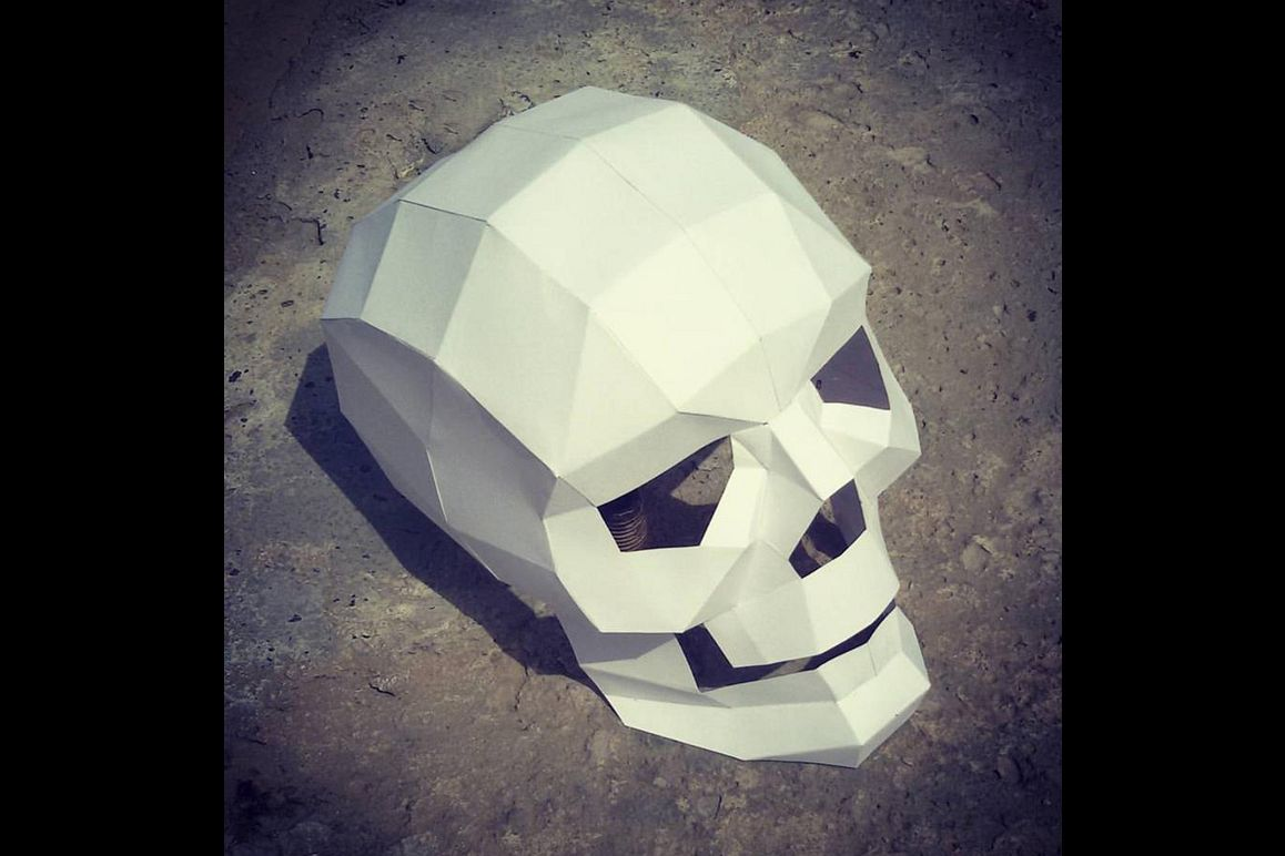 DIY Paper Skull - 3d papercraft example image 1