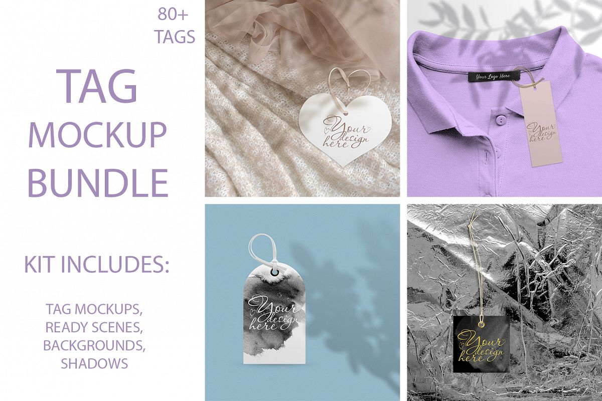 Label tag mockup BUNDLE. example image 1