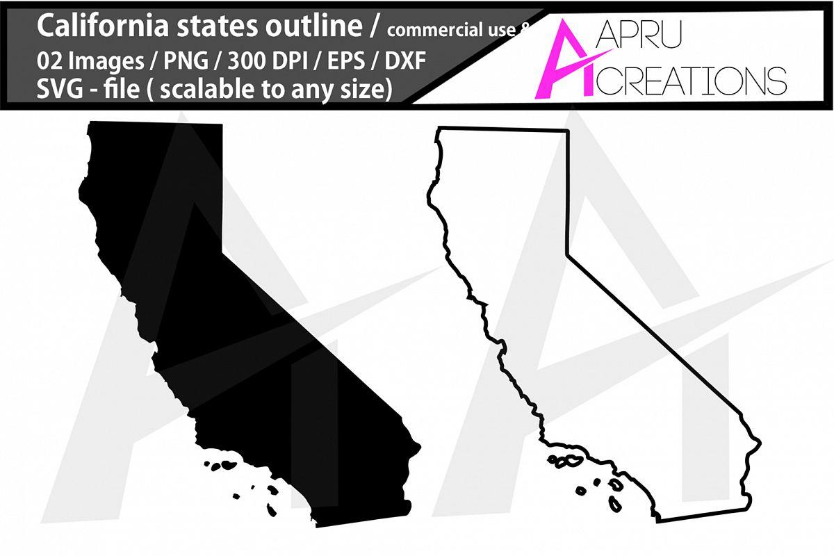 california vector map / california outline / california plai example image 1