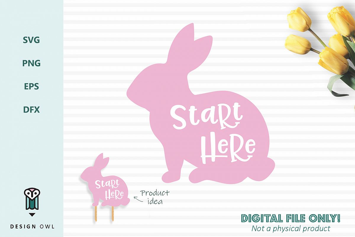 Start here bunny sign - Easter SVG cut file example image 1