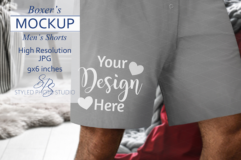 Men's Boxer Shorts Mockup for Valentine Designs 3.2 Aspect example image 1