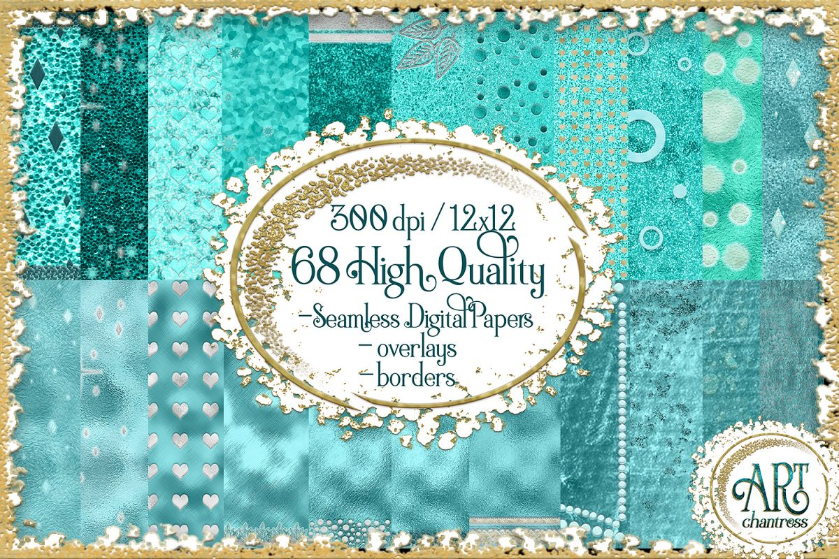 Blue Glitter Digital Papers example image 1