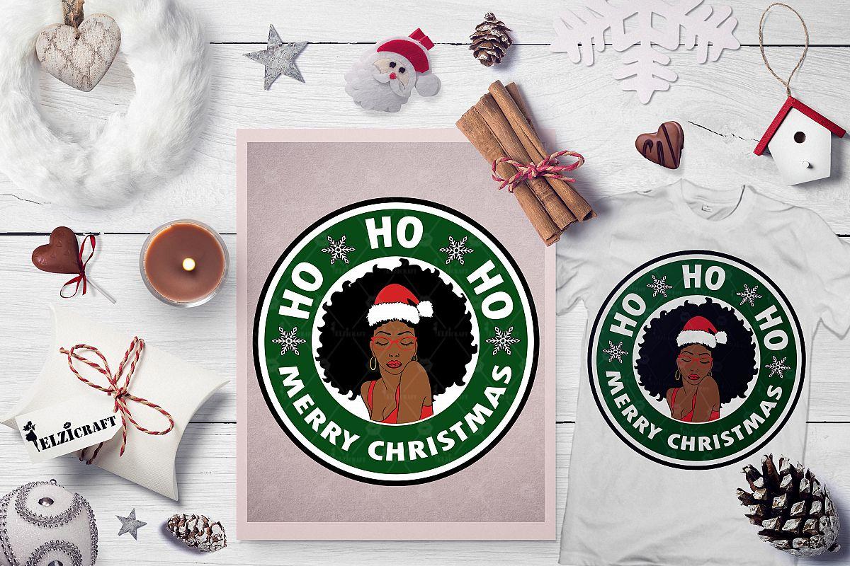 Ho ho ho Merry Christmas, Afro Woman, Santa Hat SVG Cut File example image 1