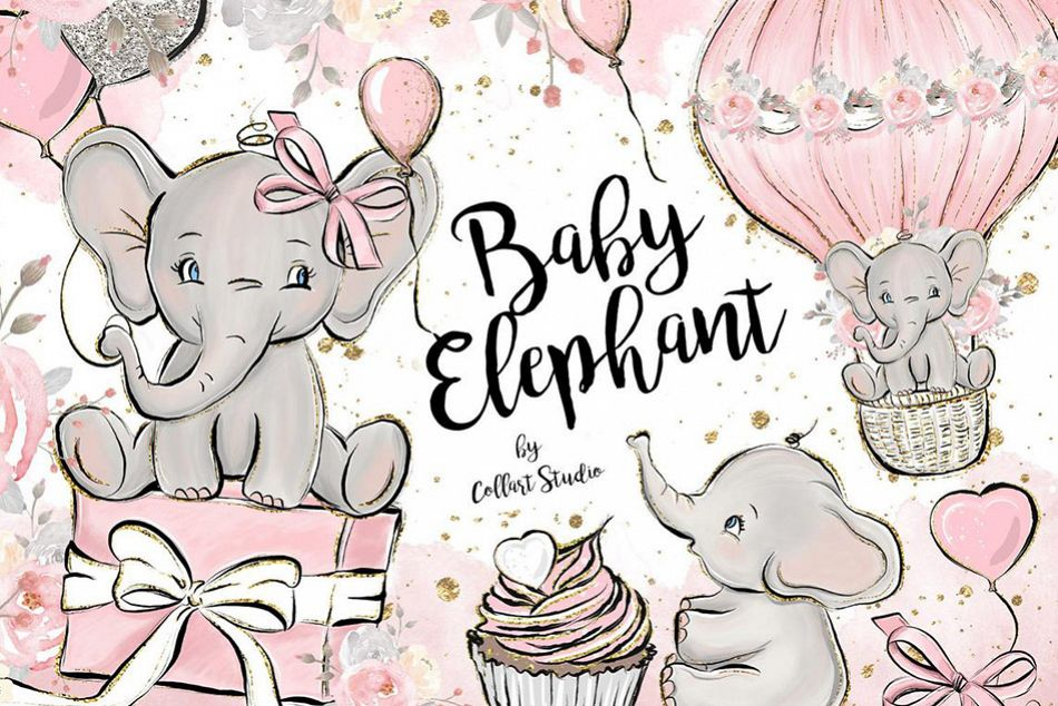Baby Elephant clipart, Baby girl clipart, birthday clipart example image 1