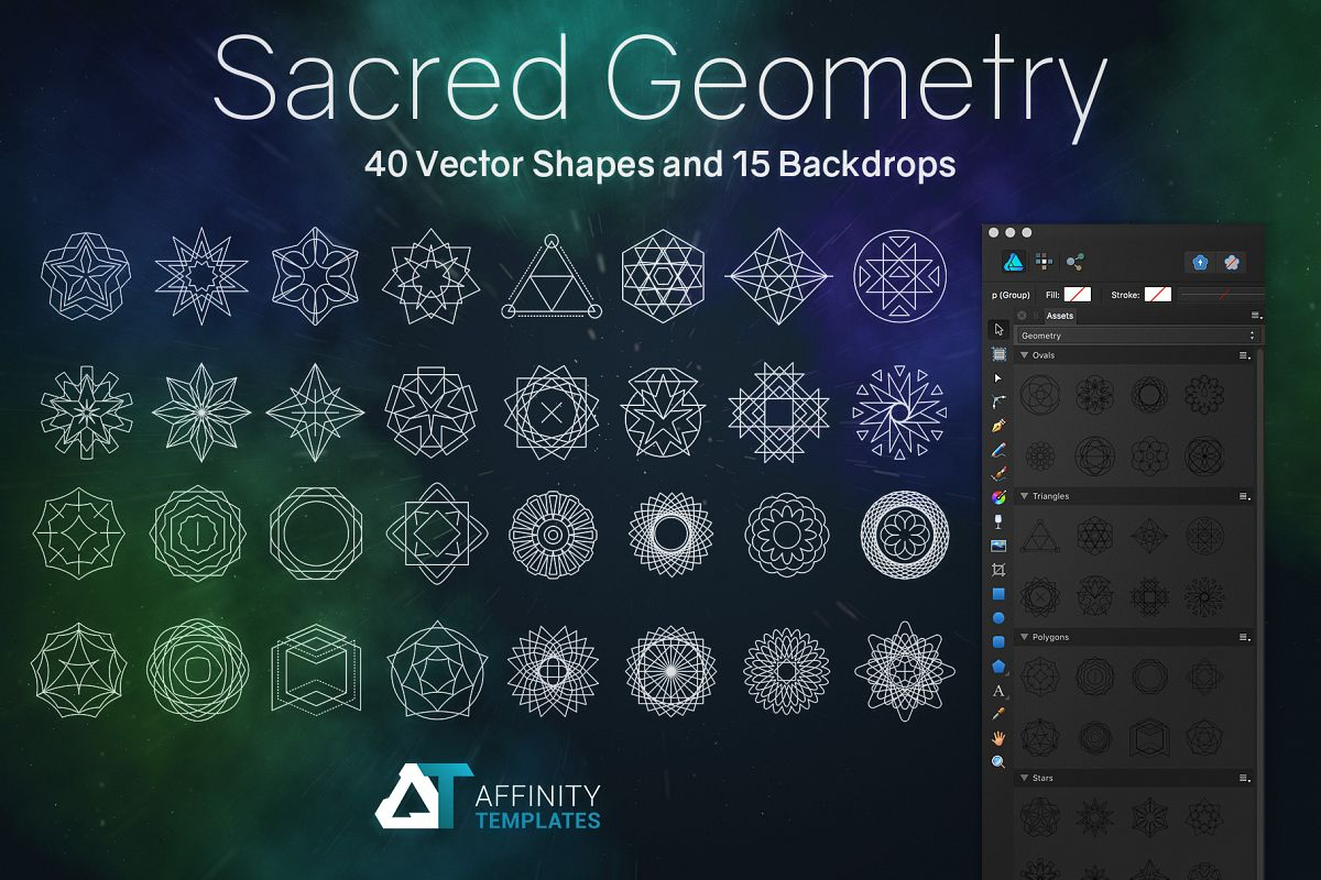 Sacred Geometry Vector Shapes Set example image 1