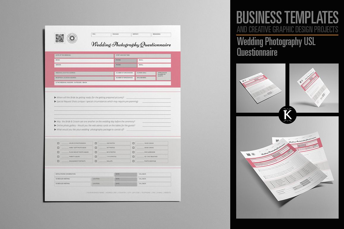 Wedding Photography USL Questionnaire example image 1