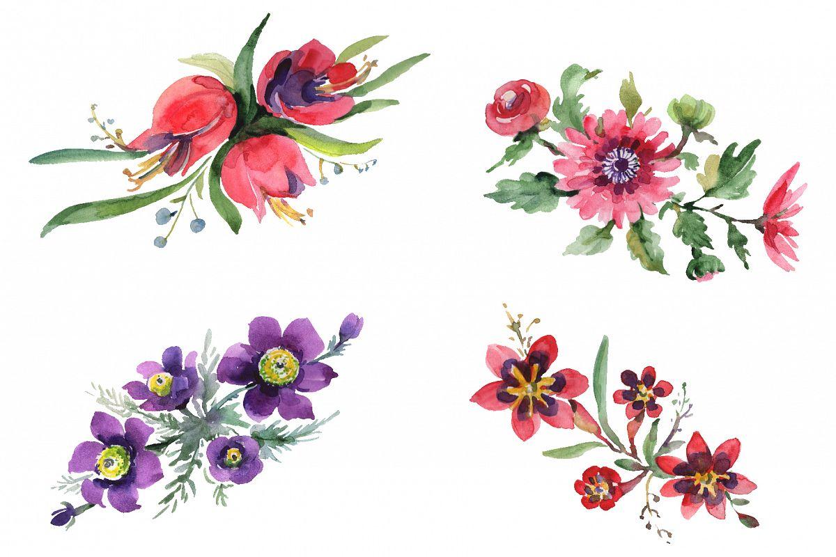 Bouquet April sun Watercolor png example image 1