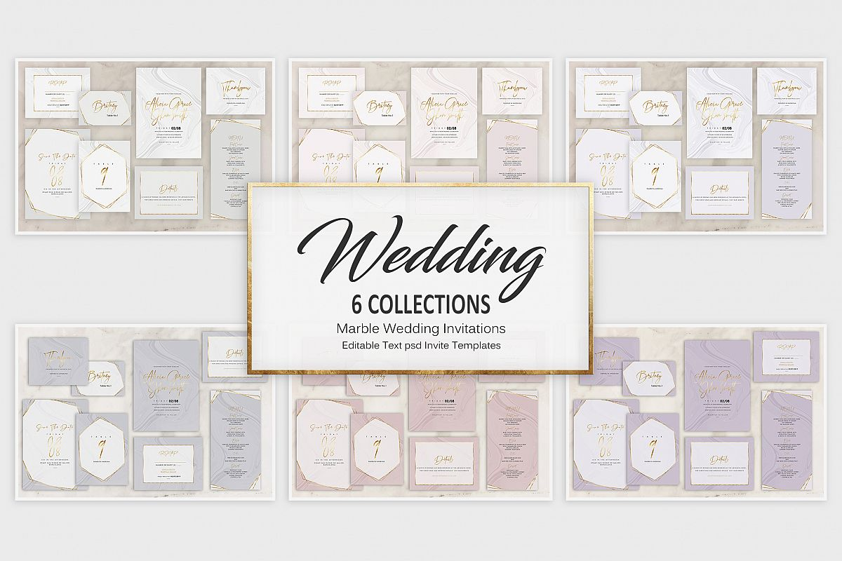 Marble Wedding Invitation - 6 Collections example image 1