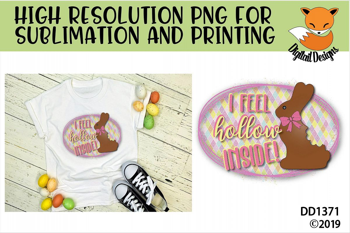 Funny Chocolate Easter Bunny Sublimation Printable example image 1