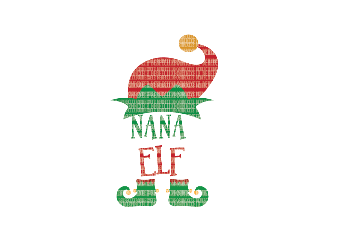 Christmas SVG File, Nana Elf, SVG Files for Cameo and Cricut Design Space, Iron on Decal, Printable Transfer, DXF Commercial Use, example image 1