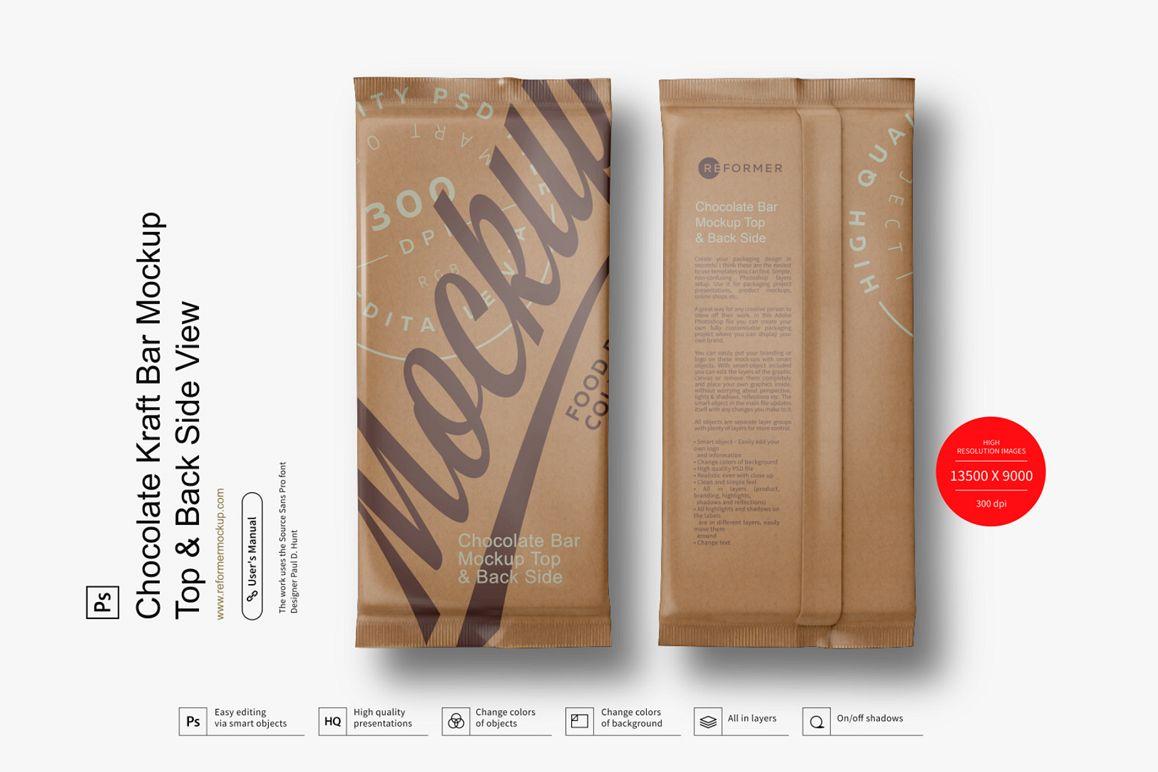 Chocolate Kraft Bar Mockup Top & Back Side View example image 1
