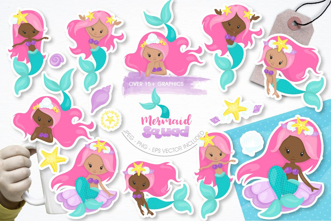 Mermaid Squad graphic and illustrations example image 1