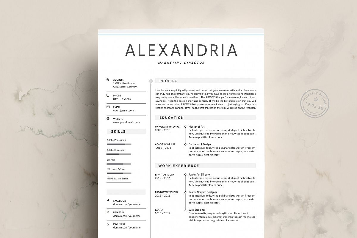 Minimalist Resume Template By Prototype Design Bundles