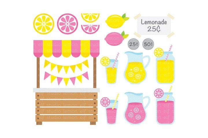 Pink Lemonade Stand-Digital Clipart (LES.CL15) example image 1