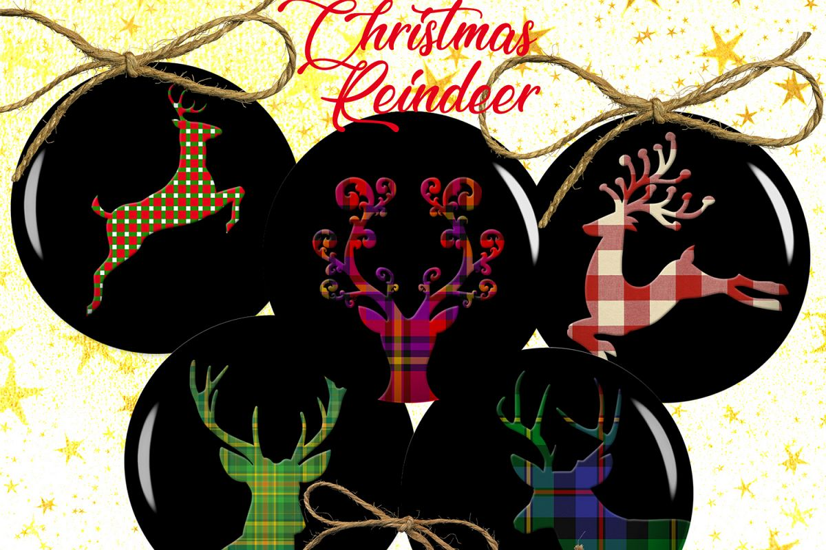 Christmas Reindeer,Buffalo Reindeer,Reindeer Digital Collage example image 1