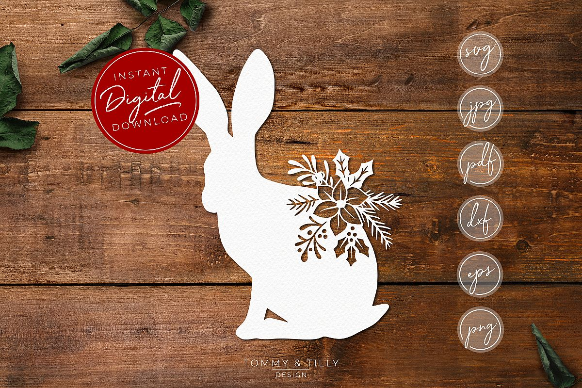 Christmas Hare - SVG EPS DXF PNG PDF JPG example image 1
